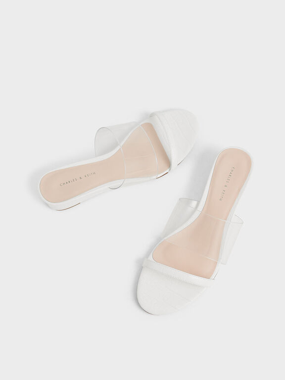 Croc-Effect Low Wedges, White