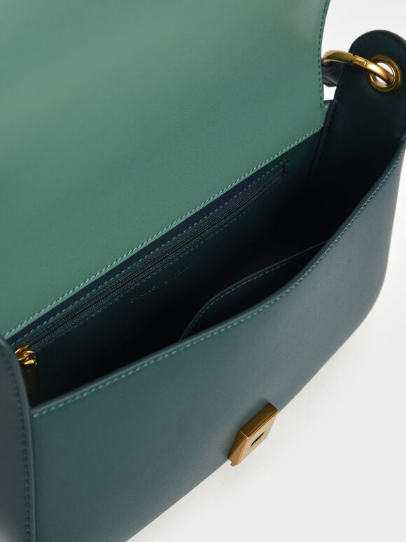 Coiled Top Handle Shoulder Bag, Green, hi-res
