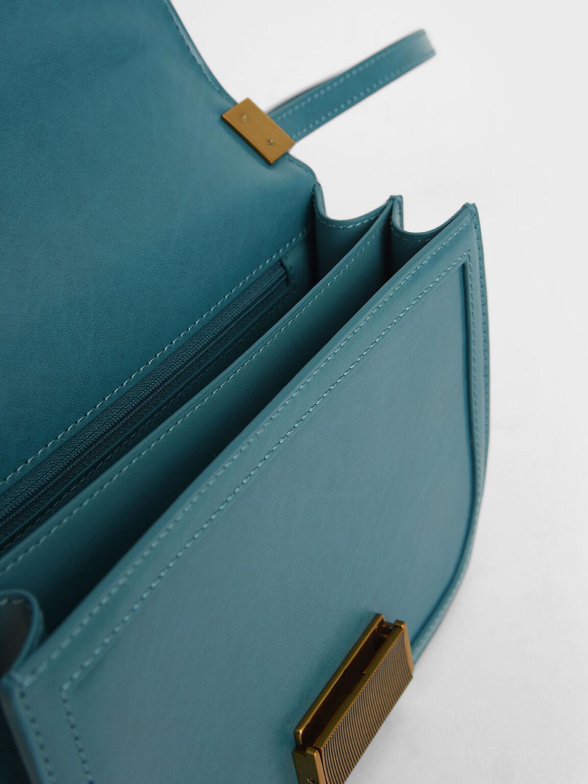 金釦小方包, 綠松色, hi-res