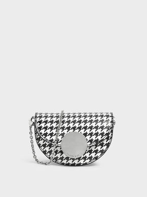 Circular Push Lock Houndstooth Print Saddle Pouch, Multi