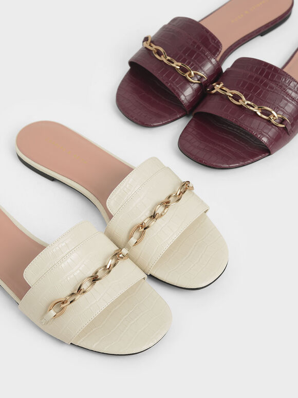 Croc-Effect Chain Link Slide Sandals, Chalk, hi-res