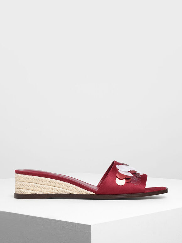 Sequin Embellished Espadrille Wedges, Red, hi-res