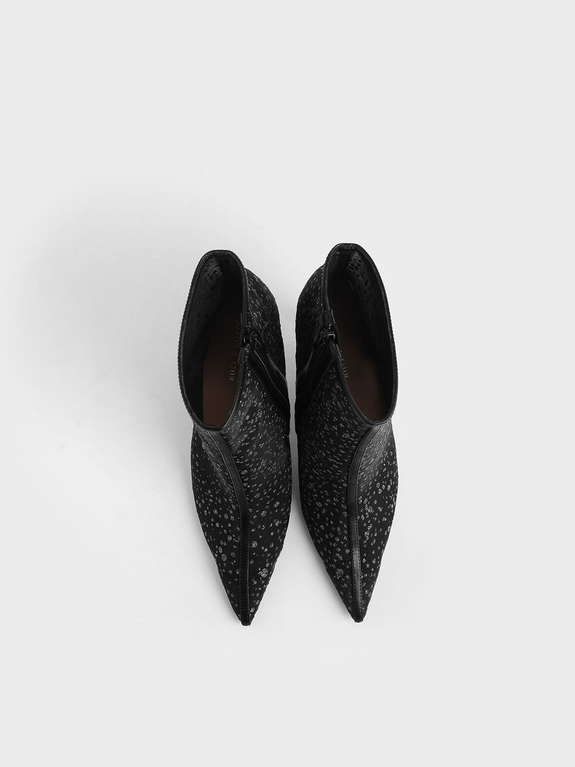 Mesh Stiletto Ankle Boots, Black Textured, hi-res