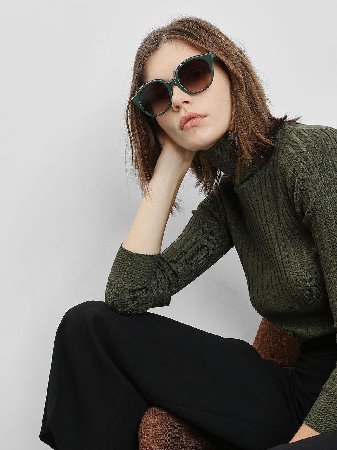 Metallic Accent Cat Eye Sunglasses, Green, hi-res