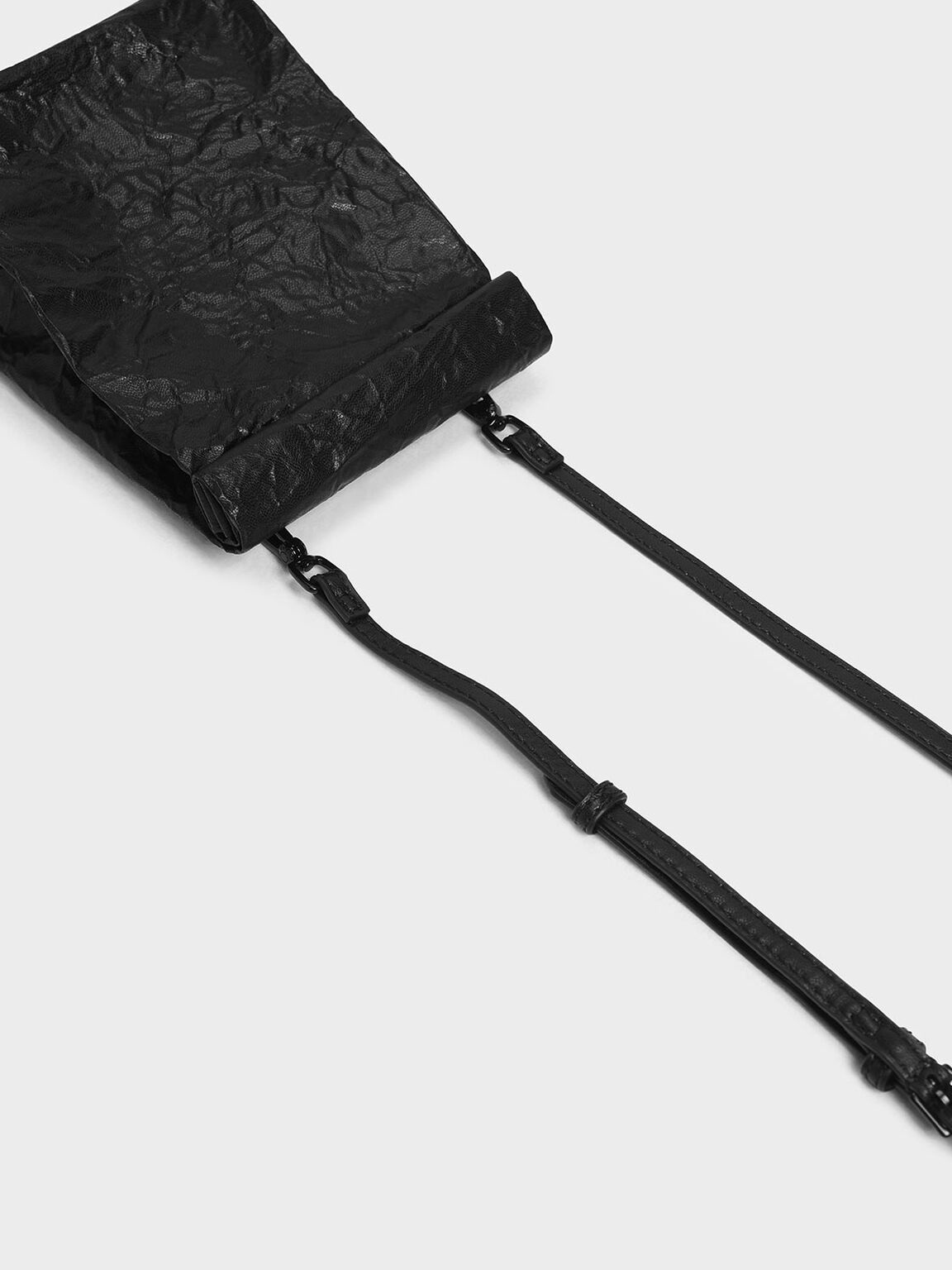 Paper Bag Clutch, Black, hi-res