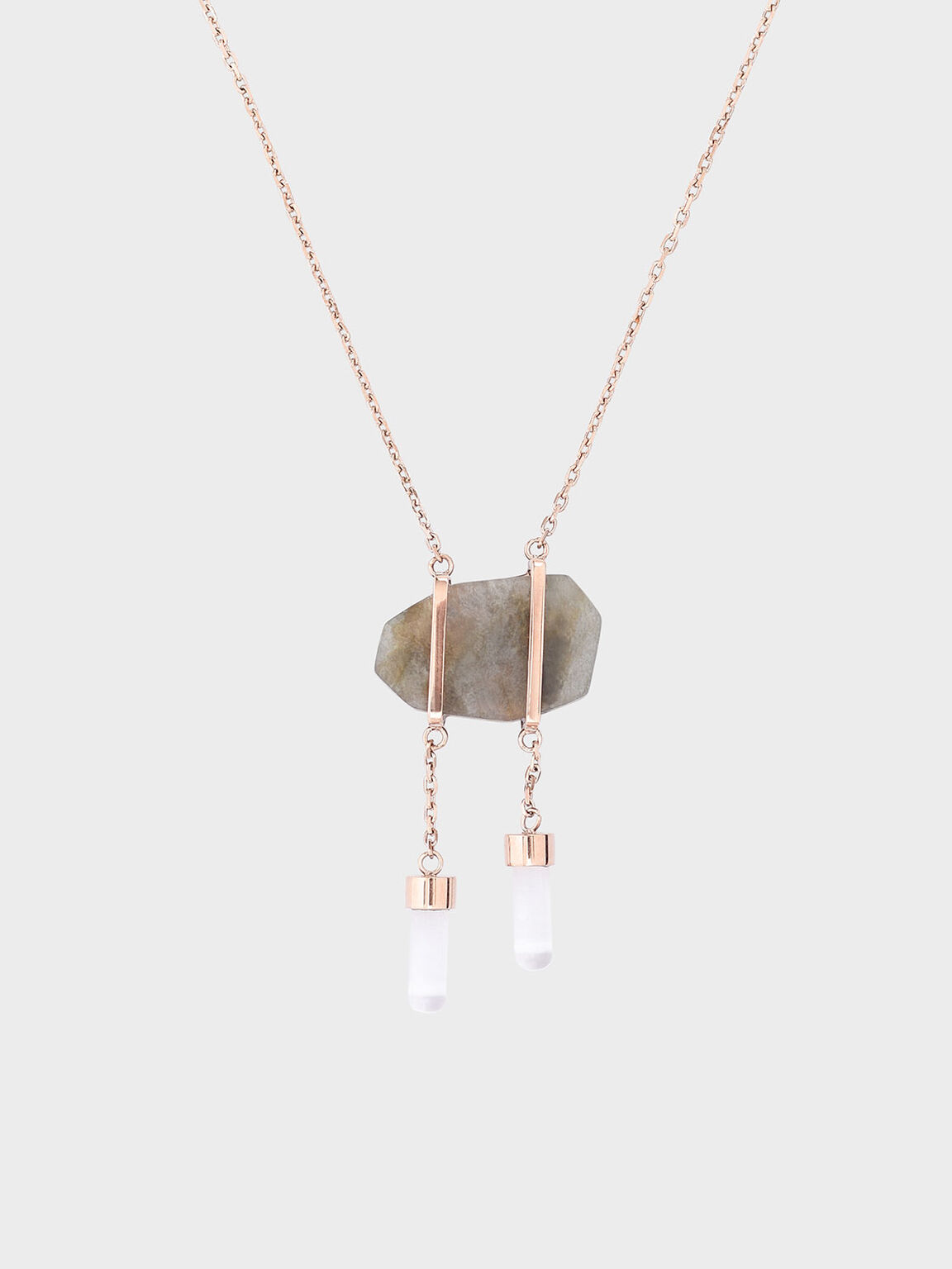 Labradorite Stone Necklace, Rose Gold, hi-res