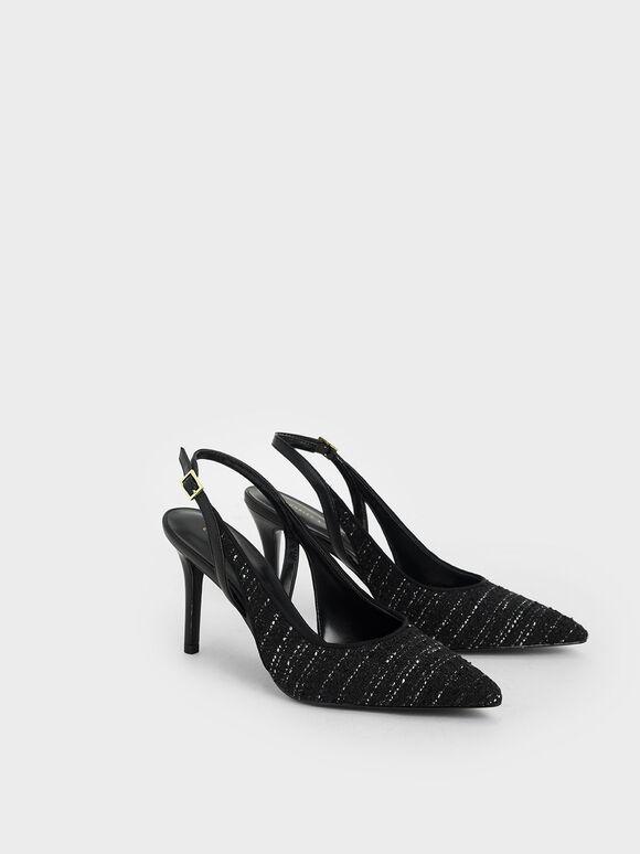Tweed Cut-Out Slingback Pumps, Black Textured, hi-res