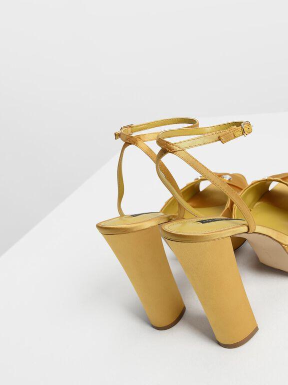 Bejeweled Satin Platforms, Yellow