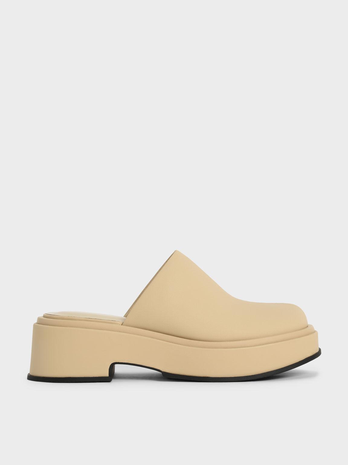 厚底木鞋, 黃色, hi-res