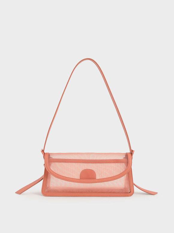 Mesh Shoulder Bag, Orange, hi-res