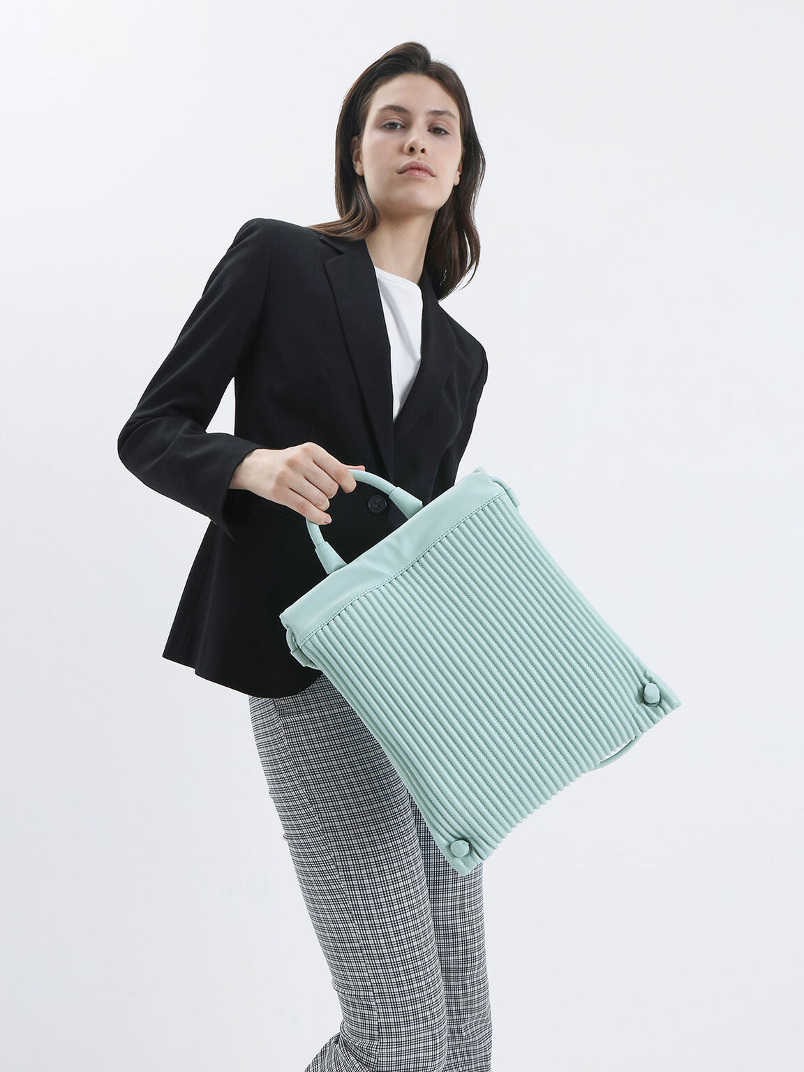 Textured Drawstring Backpack, Mint Green, hi-res