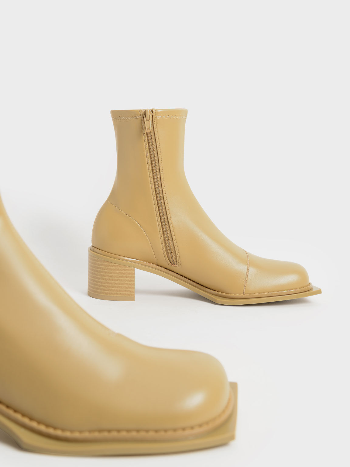 Bee Stitch-Trim Ankle Boots, Sand, hi-res