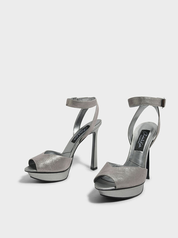 Peep Toe Leather Heels, Silver