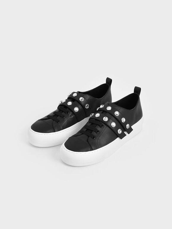 Gem-Embellished Platform Sneakers, Black, hi-res