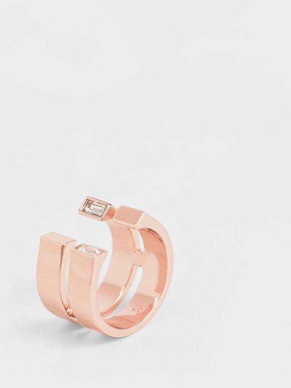 施華洛世奇®C字雙環戒, 玫瑰金, hi-res