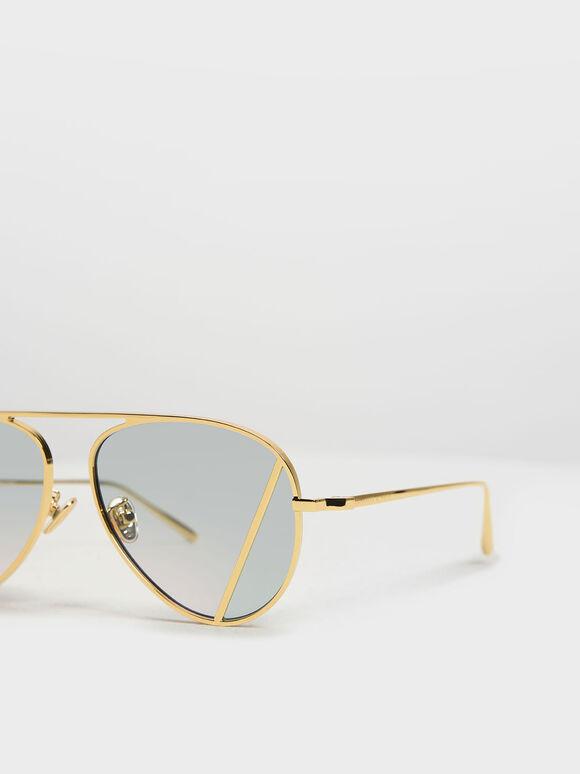Two-Tone Aviator Sunglasses, Green, hi-res