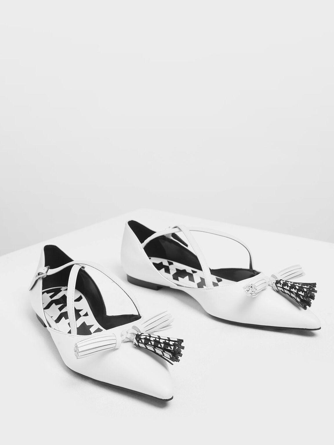 Tassel Criss Cross Ballerina Flats, White, hi-res
