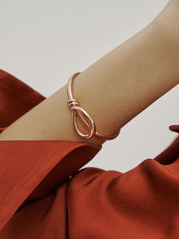 Knotted Cuff Bracelet, Rose Gold, hi-res