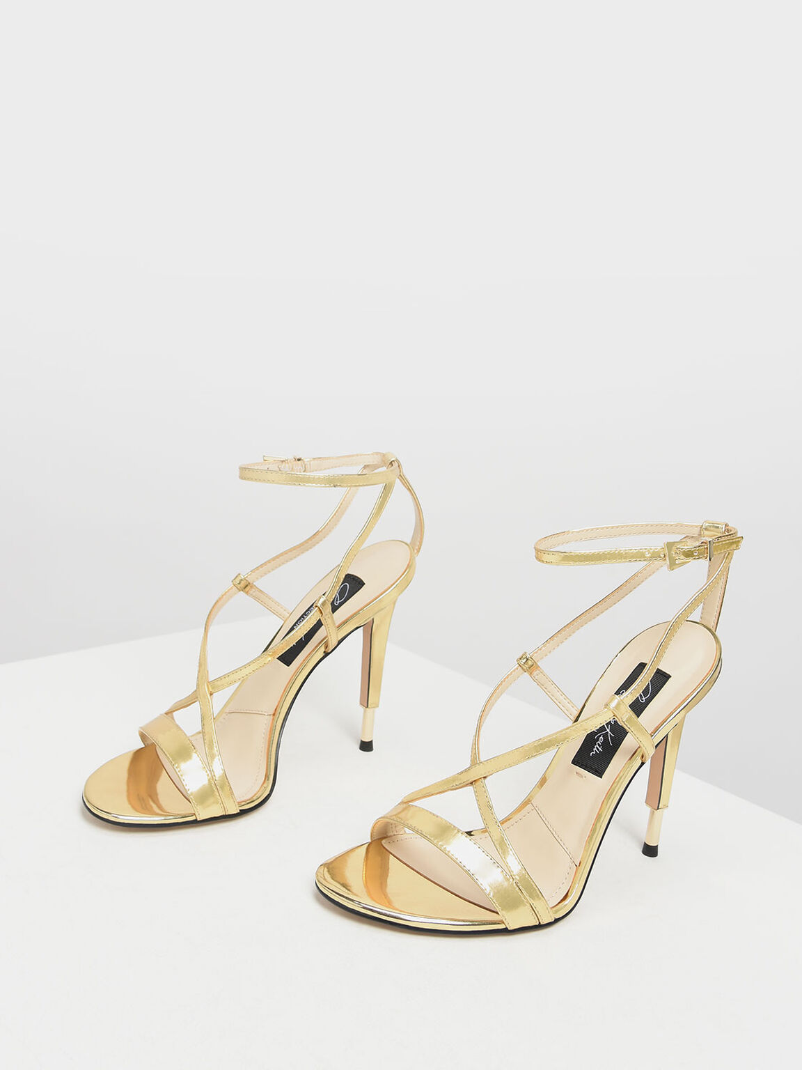 Metallic Leather Criss Cross Sandals, Gold, hi-res