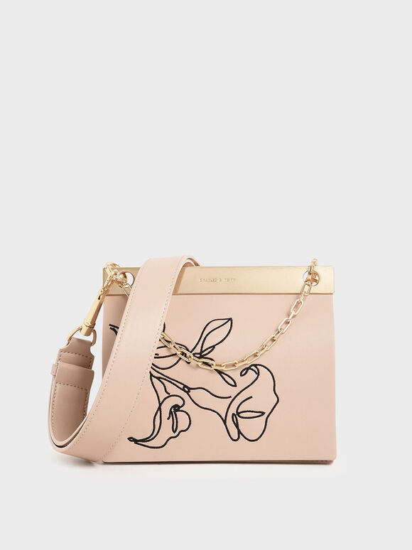 Floral Embroidered Chain Handle Bag, Nude, hi-res
