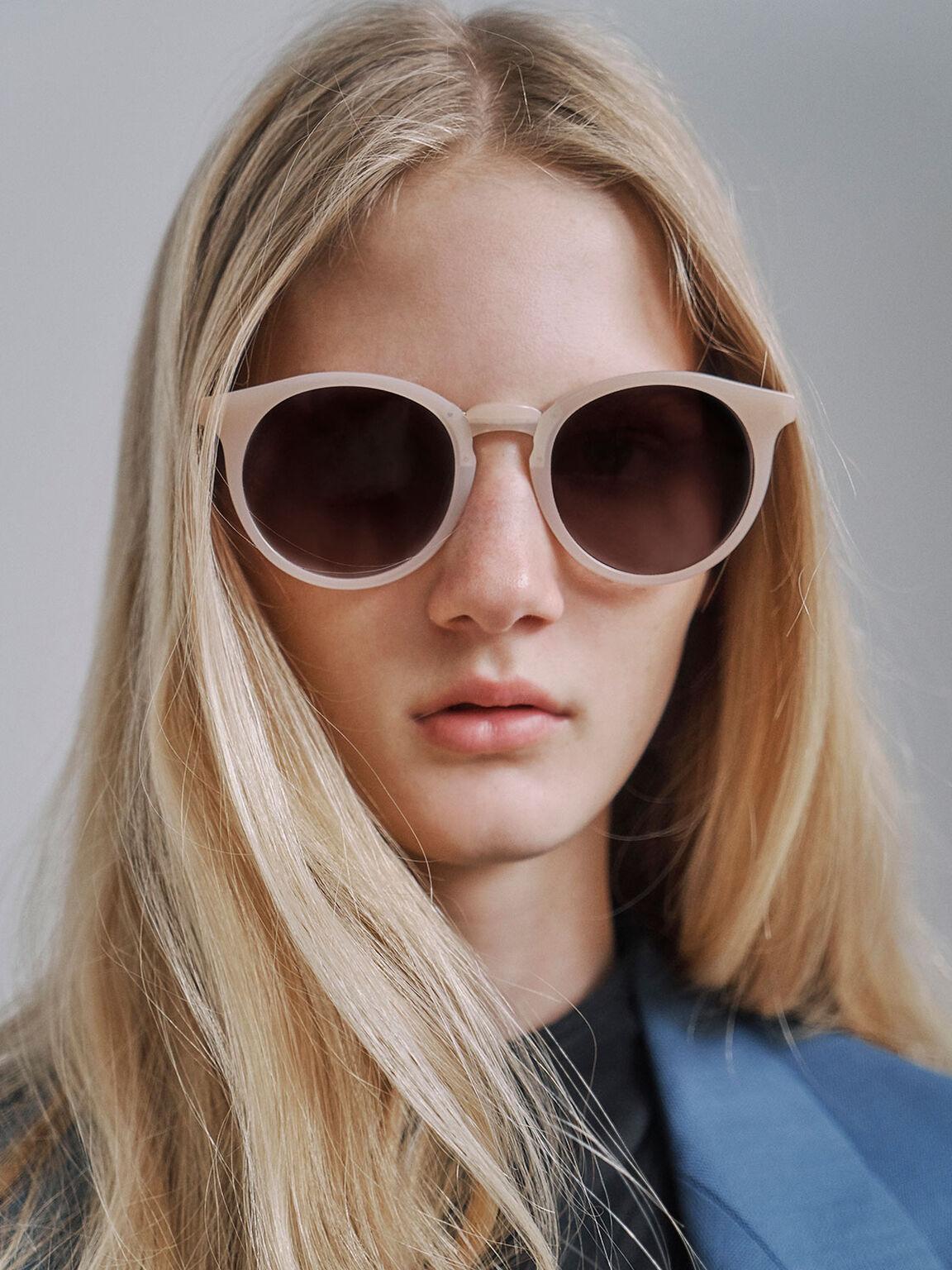 漸層圓框墨鏡, 粉紅色, hi-res