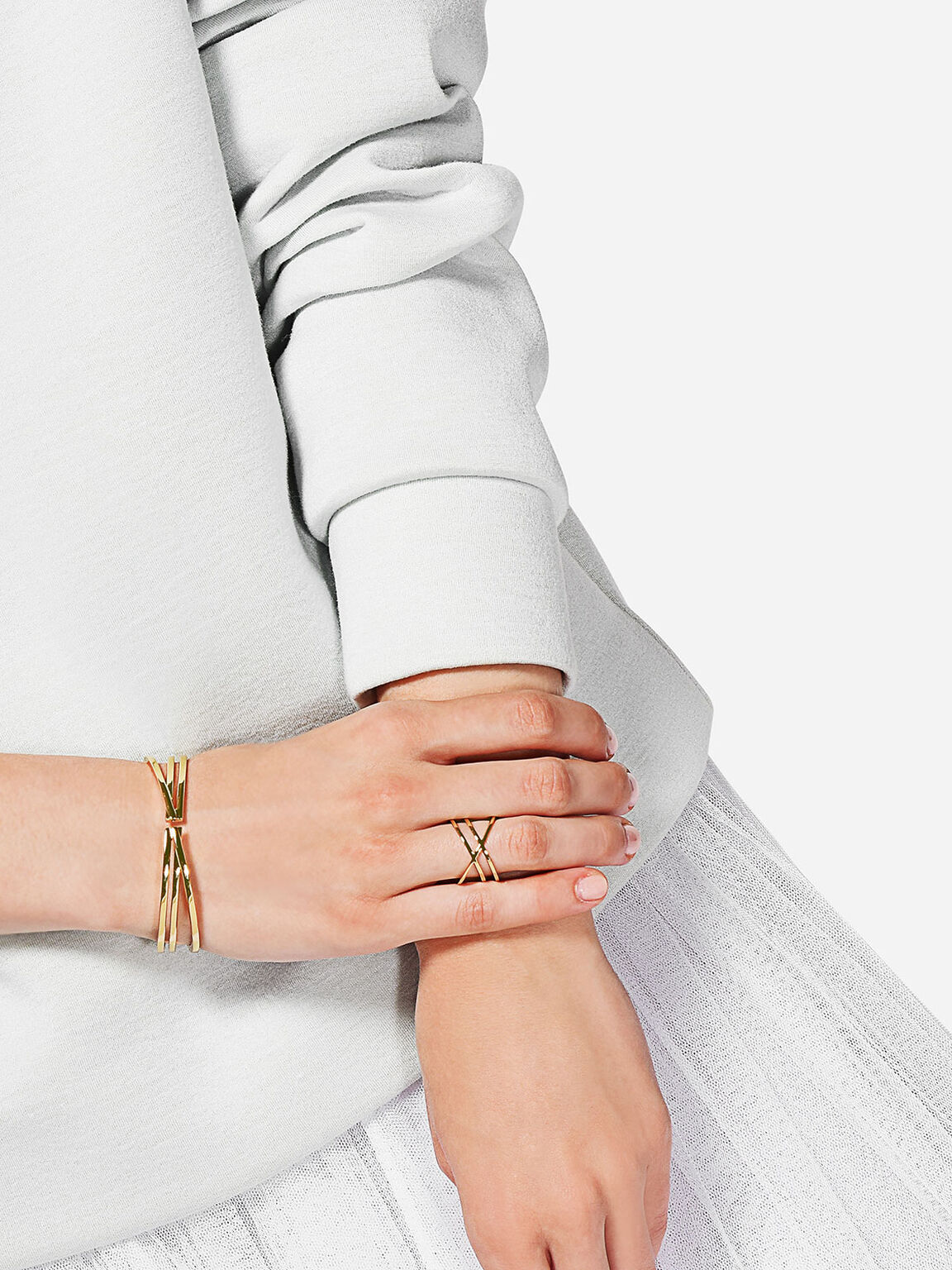 Criss Cross Bangle, Gold, hi-res