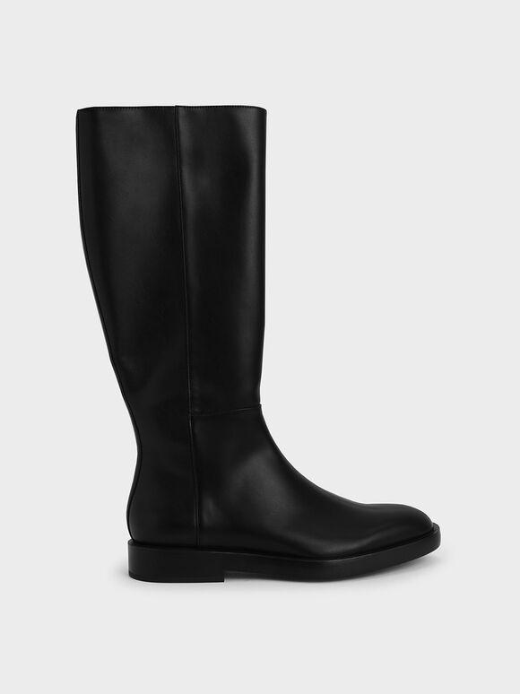 素面拉鍊長靴, 黑色, hi-res