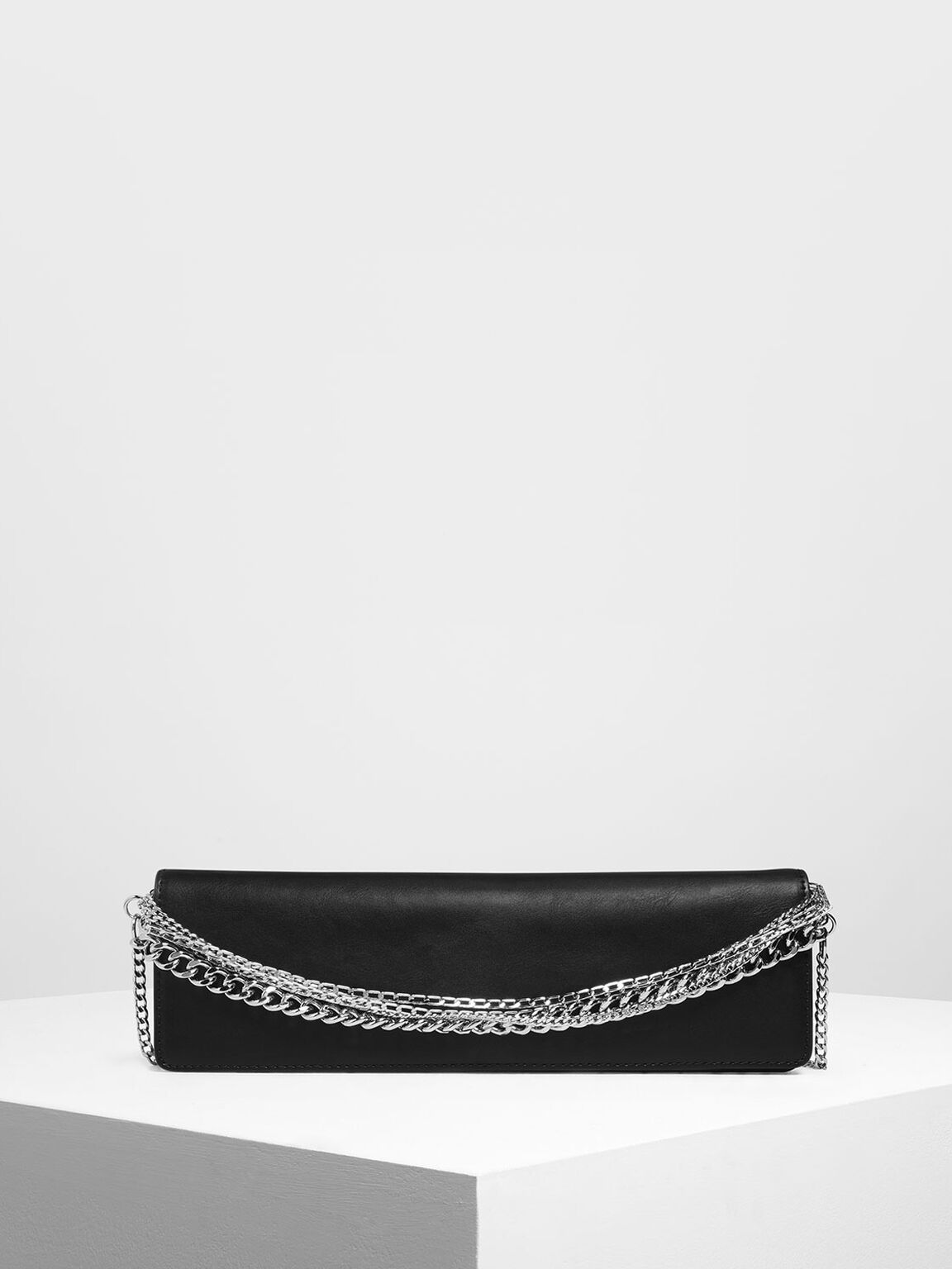 Chunky Chain Handle Bar Clutch, Black, hi-res