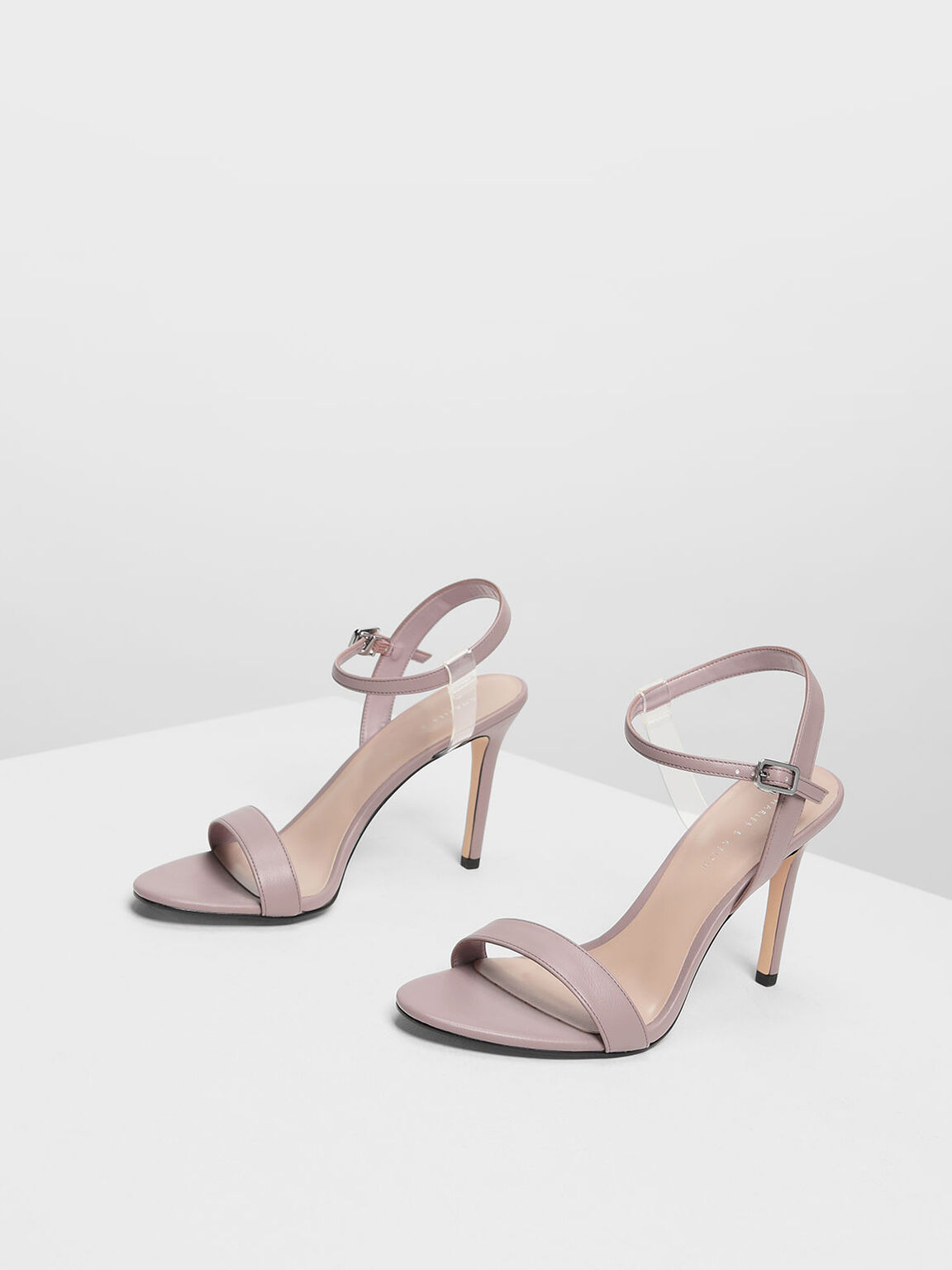 Transparent Strap Detail Heeled Sandals, Nude, hi-res