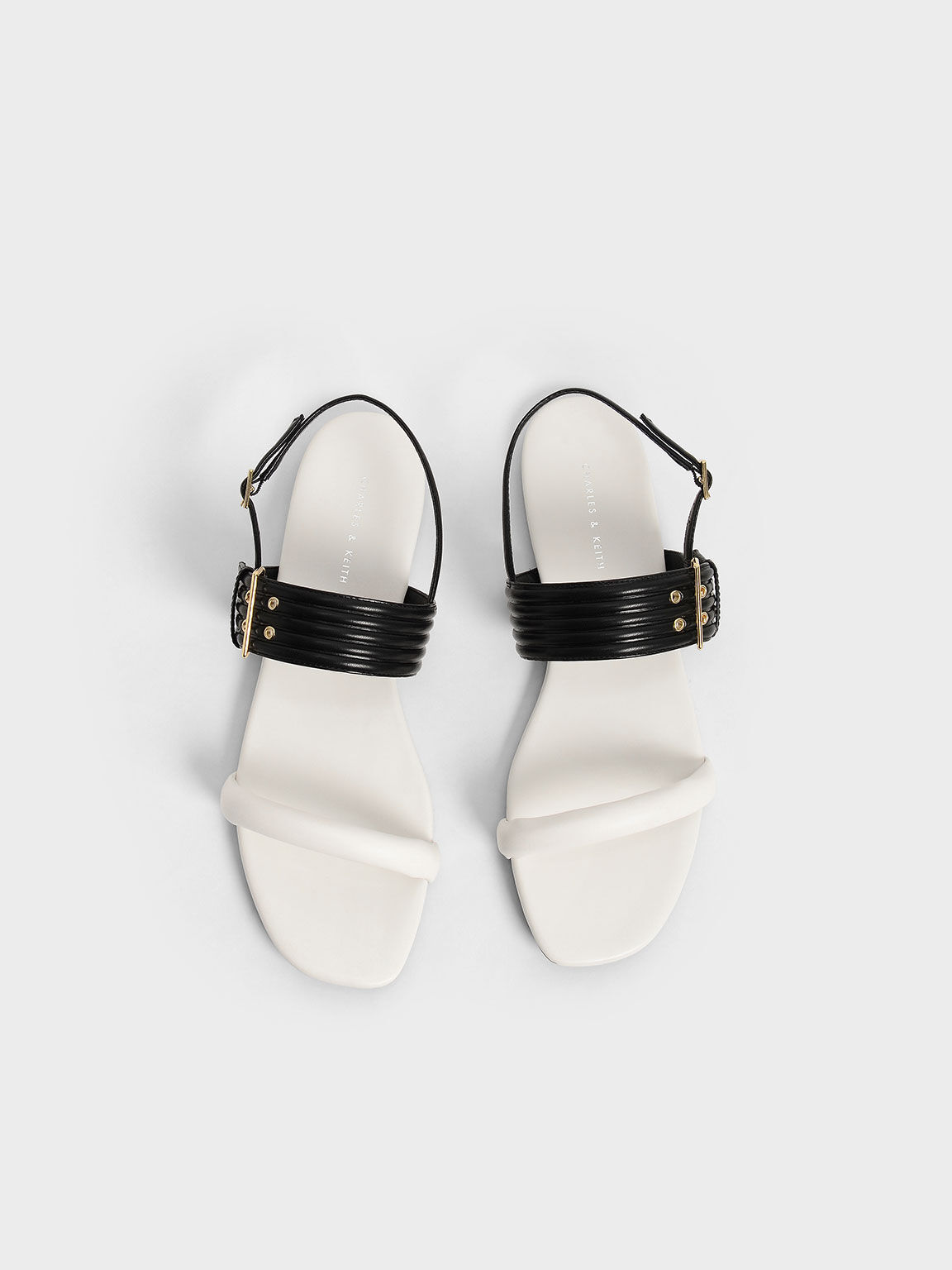 Two-Tone Puffy Grommet Sandals, Chalk, hi-res