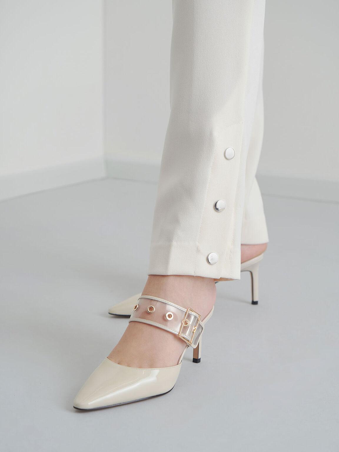 真皮果凍帶穆勒鞋, 石灰白, hi-res