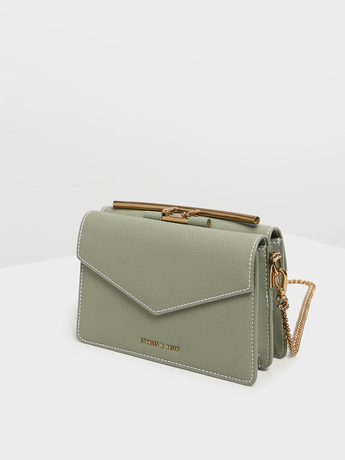 Stone Embellished Shoulder Bag, Sage Green, hi-res