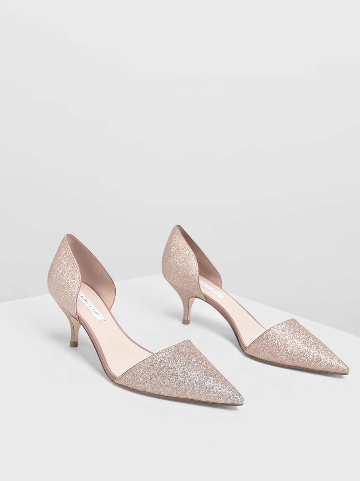 D'Orsay Glitter Fabric Kitten Heel Pumps, Rose Gold, hi-res