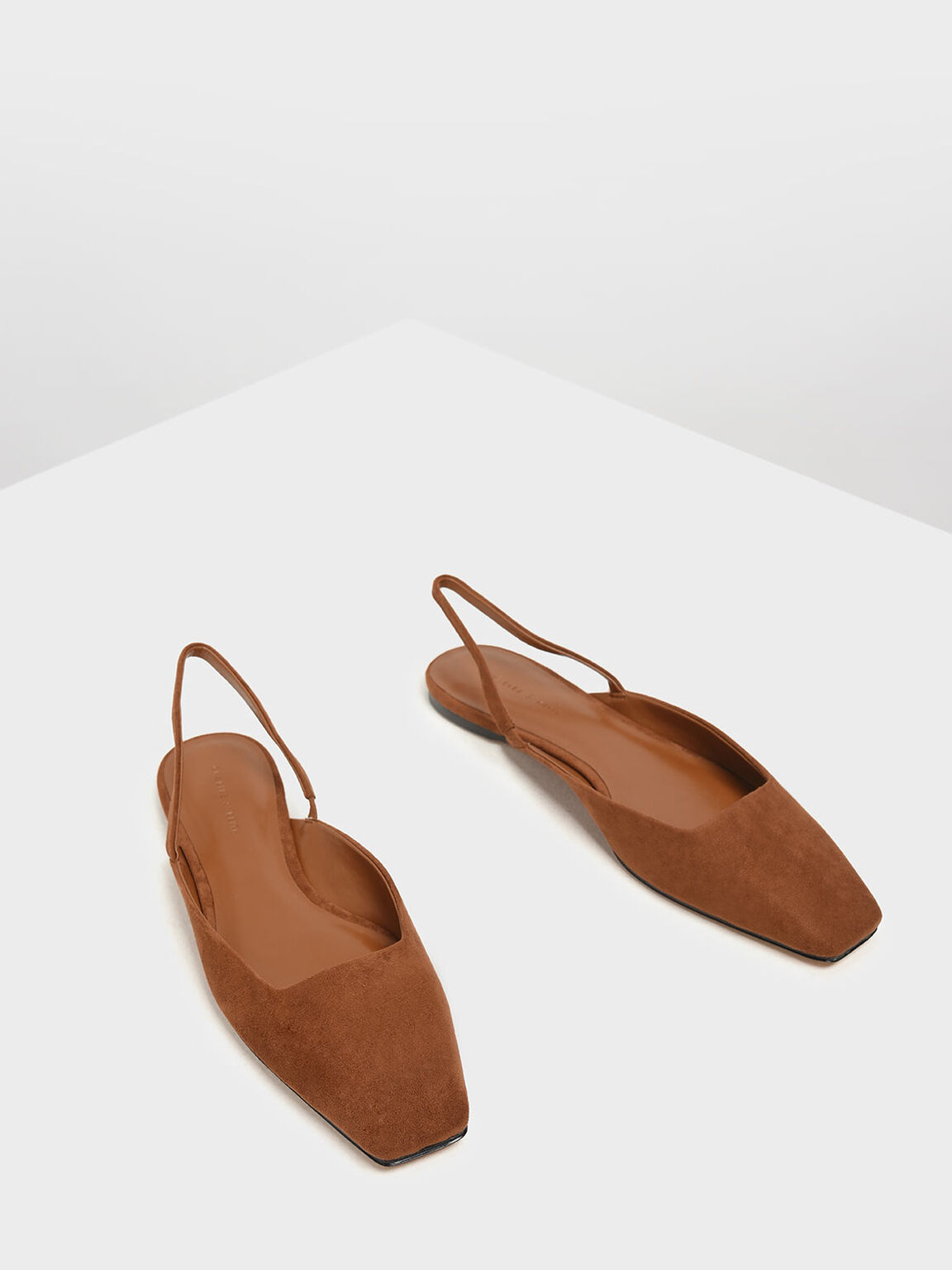 Square Toe Slingback Flats, Brown, hi-res