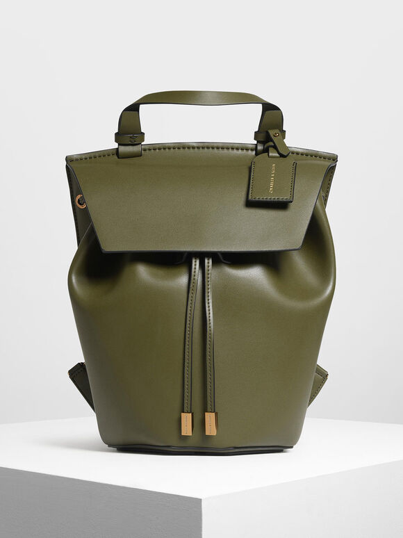 Classic Drawstring Backpack, Olive, hi-res