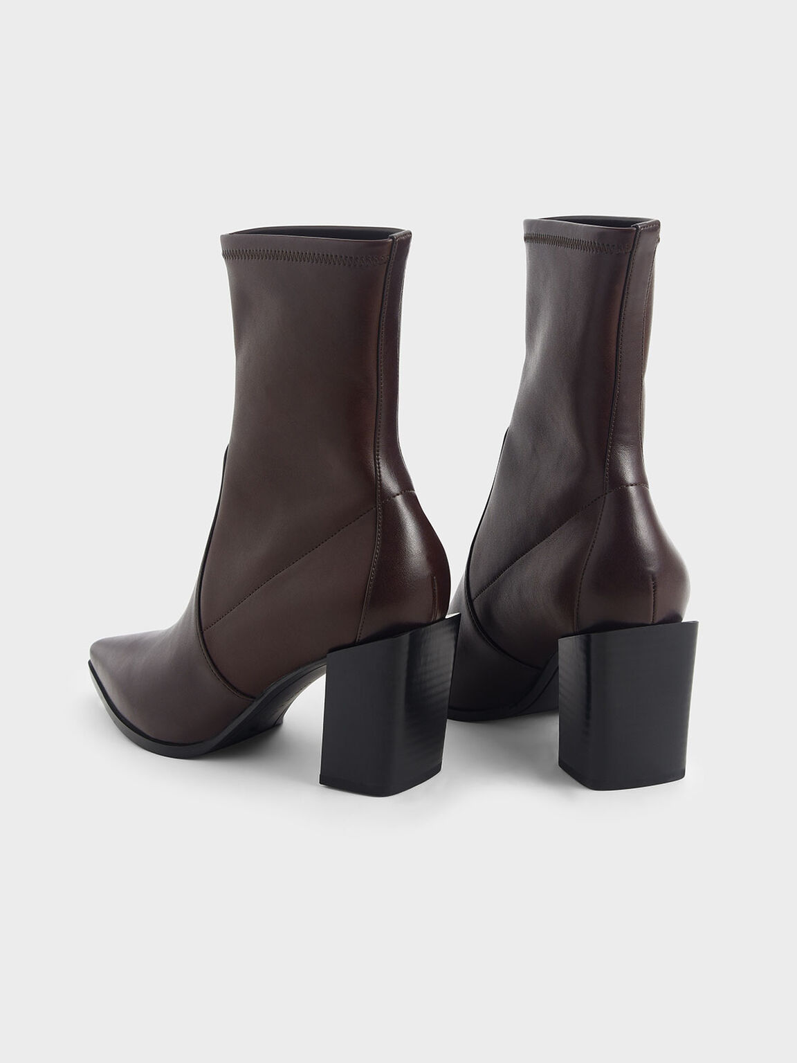 Stacked Heel Ankle Boots, Maroon, hi-res