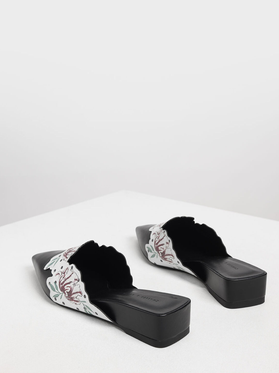 Floral Print Low Wedge Mules, Black, hi-res