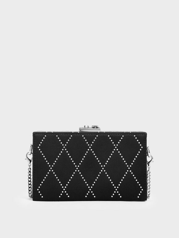 Satin Embellished Clutch, Black, hi-res