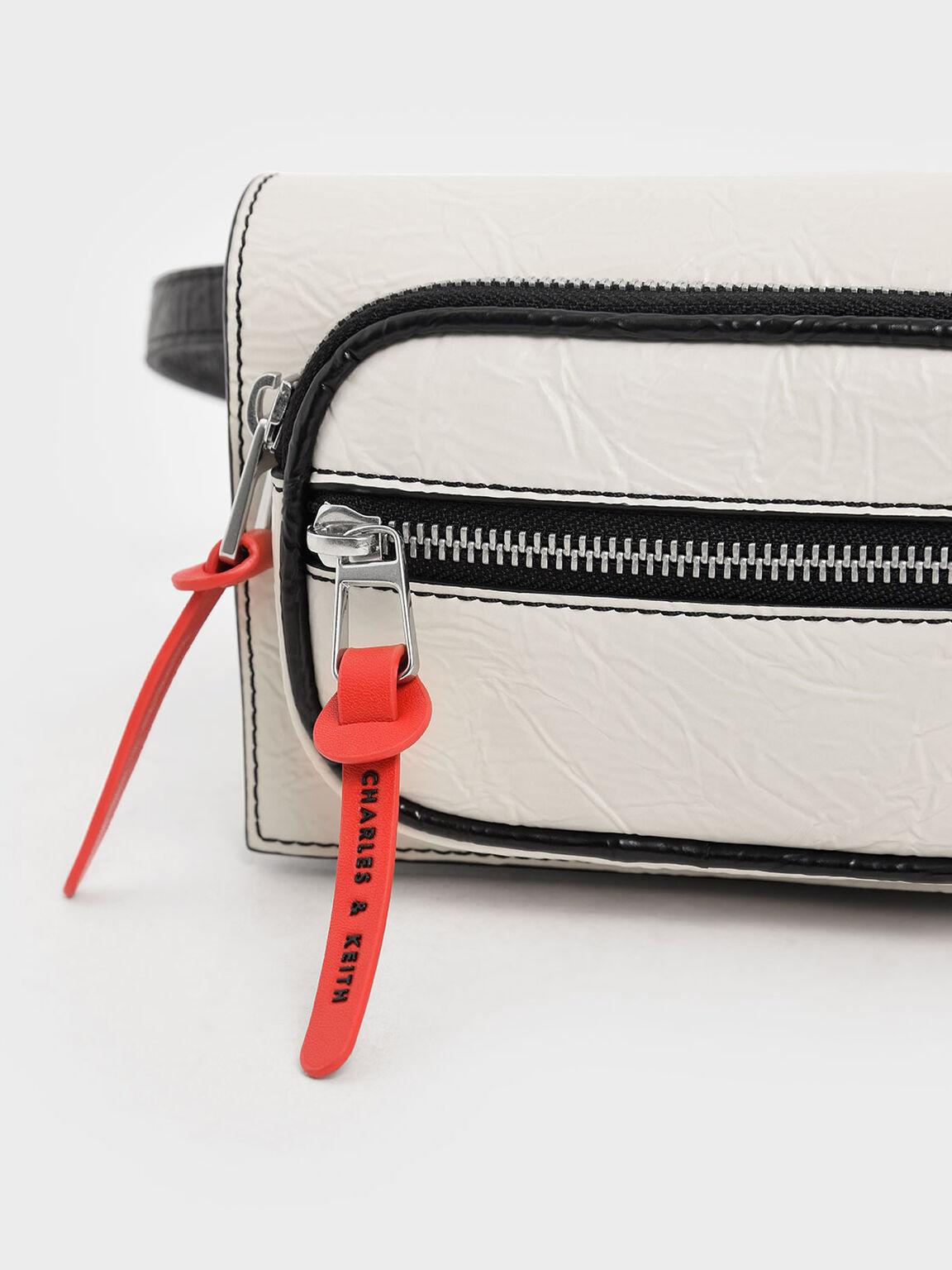 Wrinkled Effect Mini Rectangle Crossbody Bag, Cream, hi-res