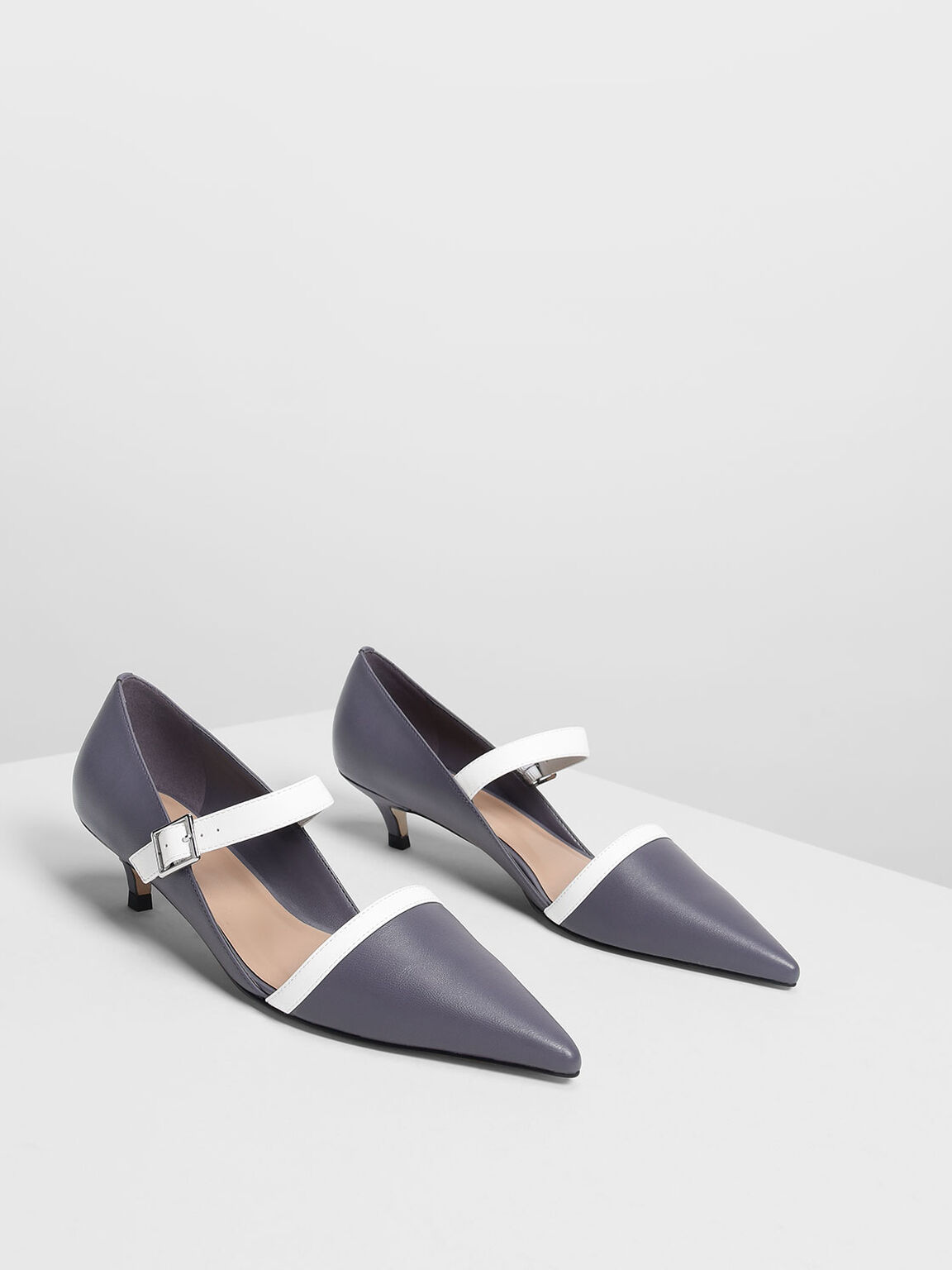 Contrast Strap Pumps, Grey, hi-res