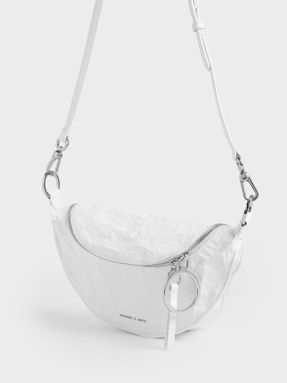 Wrinkled Effect Semi-Circle Crossbody Bag, White, hi-res