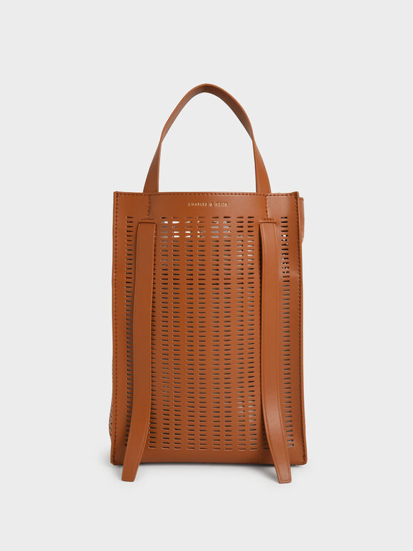 Molly Chiang Collection: Laser-Cut Large Tote Bag, Cognac, hi-res