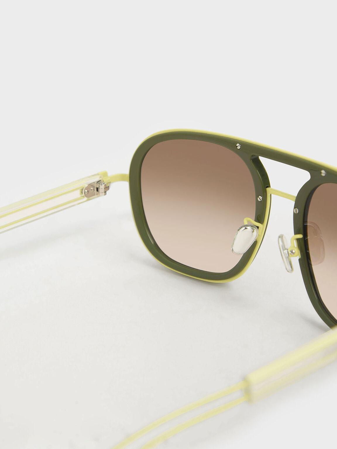 粗框飛行員墨鏡, 綠色, hi-res