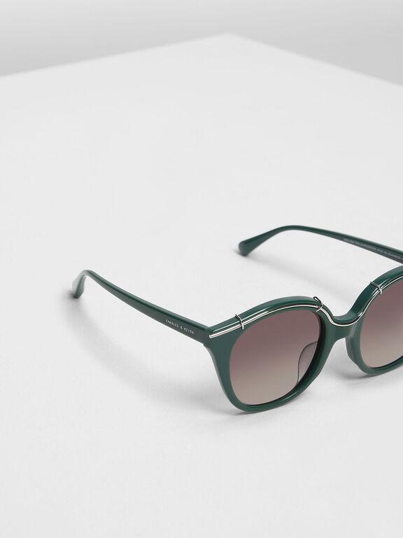 Metallic Accent Cat Eye Shades, Green
