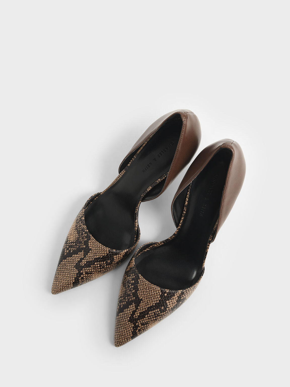 Snake Print D'Orsay Pumps, Brown, hi-res