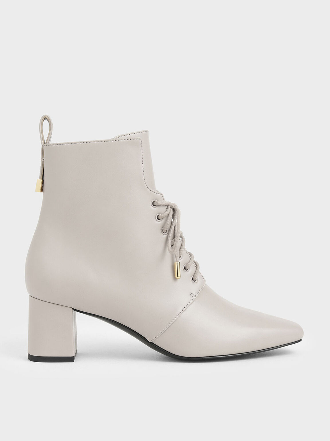 Lace-Up Heeled Ankle Boots, Nude, hi-res