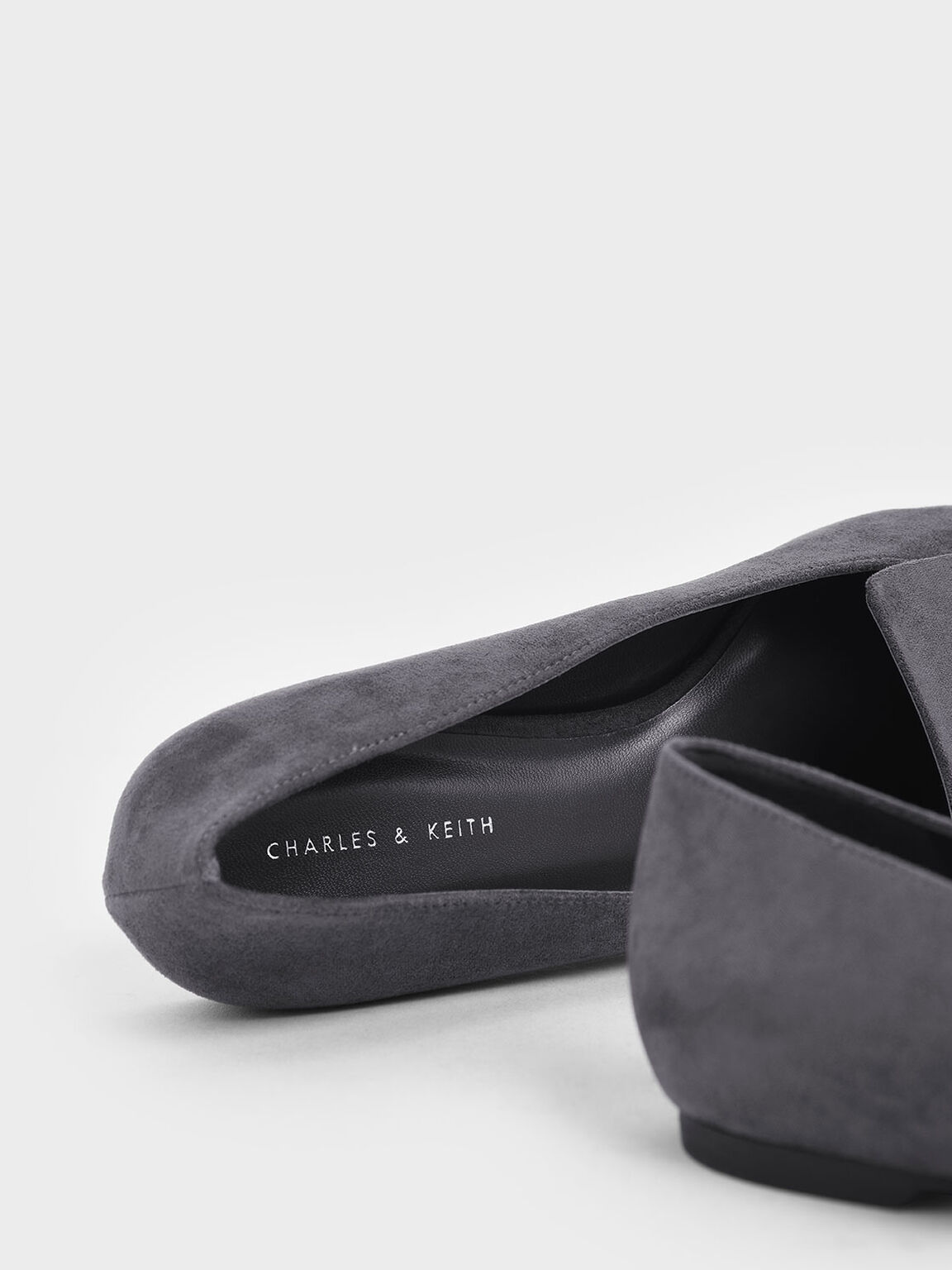 Oversized Buckle Textured Loafers, Dark Grey, hi-res