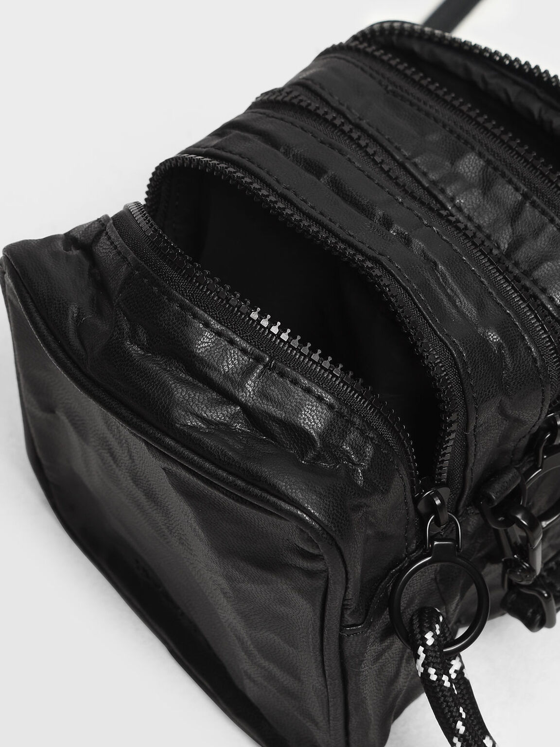 Crumpled Effect Zipper Pouch, Black, hi-res