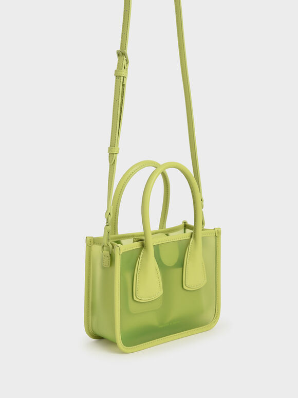 Chain Link Double Handle Bag, Lime, hi-res