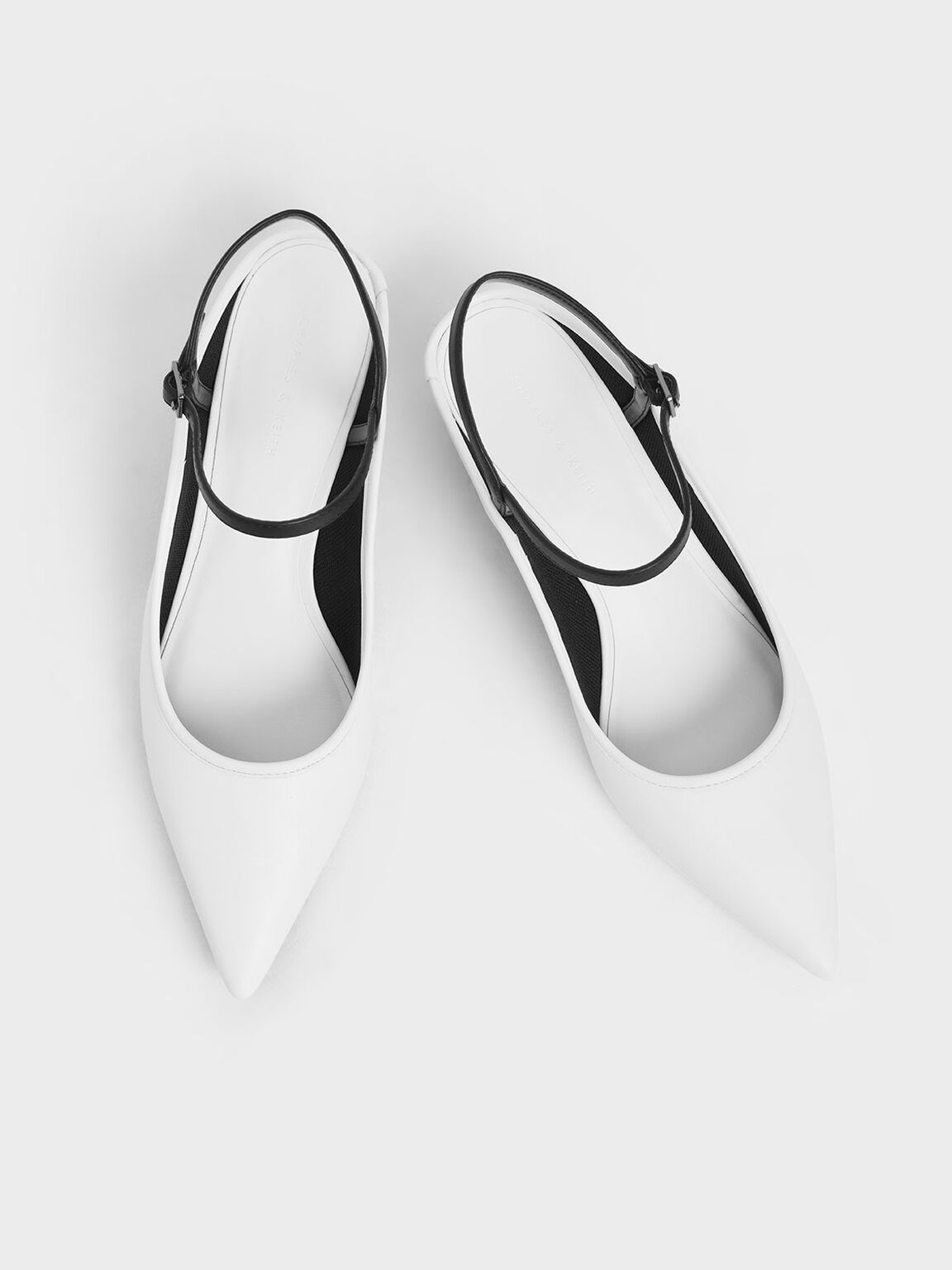 Two-Tone Ankle Strap Kitten Heel Mules, White, hi-res